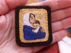 Embroidered Brown Scapular Madonna of the by StellaMarigoldArt, $84.00
