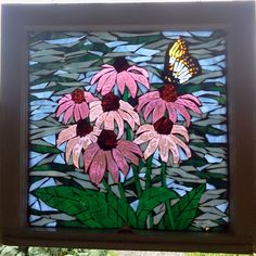 """Coneflowers"" - handmade glass-on-glass mosaic in vintage window made by Michelle White"
