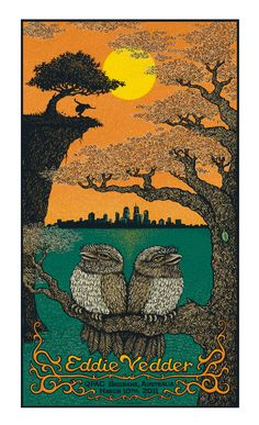Eddie Vedder Poster for an Australian concert. Beautifully detailed and it has OWLS!