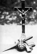 krzyż, granat, pistolet, nóż