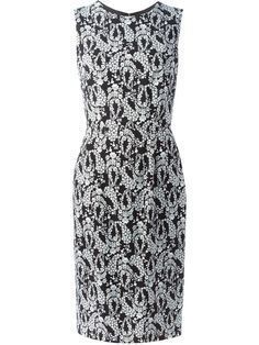 Dolce & Gabbana wisteria print midi dress, Women's, Size: 42, Black, Silk/Spandex/Elastane/Viscose
