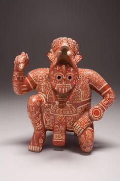 Vasija de la cultura mixteca, c. 1100-1400. Cerámica polícroma, 24.7 x 21 x 28.5 cm. Procedencia: zona arqueológica El Chanal - Colima, México (Museo de Arte Kimbell - Fort Worth (TX), USA).