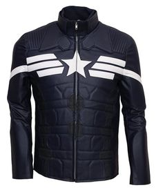 Captain America The Winter Soldiers Blue Celebrity leather Jacket