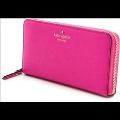 Kate spade wallet KATE SPADE MIKAS POND LACEY WALLET  COLOR: BOUGAINVILLEA STYLE #: WLRU1689-7   Used only for a couple of months with no signs of wear or tear. Zips all the way around and has plenty of compartments. Also has additional zipper on the inside. I will consider all reasonable offers. NO TRADES PLEASE. kate spade Bags Wallets