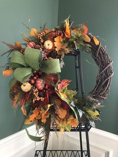 Autumn Wreaths For Front Door, Diy Fall Wreath, Summer Wreath, Wreath Ideas, Thanksgiving Wreaths, Holiday Wreaths, Winter Wreaths, Spring Wreaths, Elegant Fall Wreaths