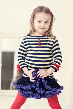 Love this stripes with tutu!  Knit girls sweatshirt, knit toddler girls spring sweater, every day wear spring summer, kids eco friendly on Etsy, $39.00