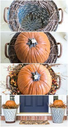 DIY Fall Olive Bucket Pumpkin Planters is part of Quick Fall crafts - DIY Fall Olive Bucket Pumpkin Planters Easy way to raise the pumpkins up without filling up the olive buckets Super easy and quick Decoration Christmas, Halloween Decorations, Room Decorations, Turkey Decorations, Homemade House Decorations, Fall Home Decor, Autumn Home, Dyi Fall Decor, Hobby Lobby Fall Decor