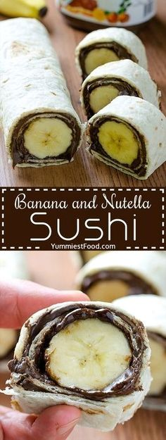 Kids Meals Banana and Nutella Sushi - Easy and healthy snack. Kids will love this Banana and Nutella Sushi. - Banana and Nutella Sushi - Delicious, cute, easy and quick! Easy and healthy snack! Kids will love this Banana and Nutella Sushi! Yummy Snacks, Yummy Food, Nutella Snacks, Delicious Desserts, Cute Snacks, Yummy Yummy, Healthy Drinks, Healthy Nutella Recipes, Quick Healthy Snacks