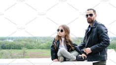 Fashionable stylish family for a walk. Charming schoolchild and her handsome young dad spend time together outdoors. Family look. Family Stock Photo, The Walking Dad, Advertising Photography, Casual Outfits, Dads, Handsome, Bring It On, Daughter