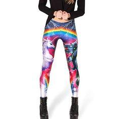 Mode Dametøj Populære Rainbowl Amazing Sky Horse and Dragon Mønster Skinny Legging Elastisk Pants – DKK kr. 73