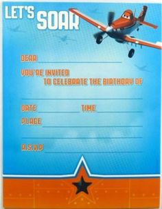 Enter To Win A Copy Of Planes On Bluray And DVD The Nintendo DS - Airplane birthday invitation template