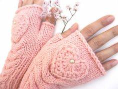 Pink fingerless gloves