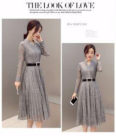 2016 новая коллекция весна мода Корейский стиль выращивания платье однобортный с длинными рукавами кружева плиссированные резервное повседневные платья женский купить на AliExpress