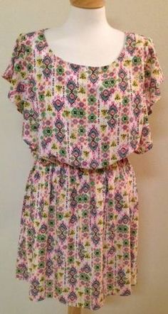 Anthropologie Birdcage dress LARGE pink white short sleeve knee length #Anthropologie #Tunic #Casual