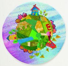 Round art quilt wall hanging from Laura Wasilowski.