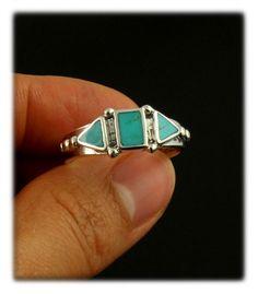 Three Stone Sleeping Beauty Turquoise Ring