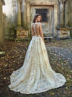 Galia Lahav - lily-rose -  Princess silhouette in a multi-layered sheer dress. Hand appliqued and beaded in antique rose shades. This dress combines a mermaid silhouette with a top ball-gown-like layer. A very low neckline and a new bridal color.