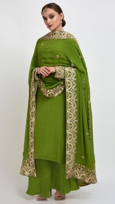 Mehandi Green Hand Embroidered Gota Patti Work Suit With Dupatta
