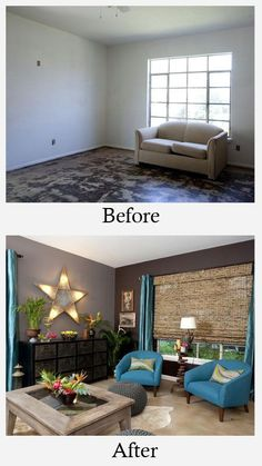 Living Room Makeovers - Before and After: White walls and unfinished cement floors did nothing to help this living room. Finishing the floors in a warmer color and adding gray paint to the walls began the transformation. Bright colors and unique accents completed this room and gave it plenty of personality.