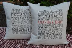 Famous couples typography pillow COVER 16 x 16 by FeatherHen