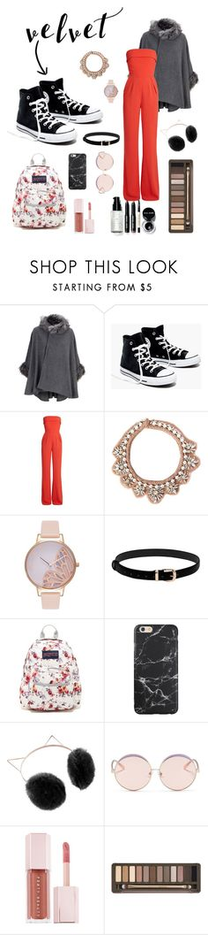 """Velvet."" by allison878 ❤ liked on Polyvore featuring Madewell, Elie Saab, Mignonne Gavigan, Olivia Burton, JanSport, LC Lauren Conrad, N°21, Puma, Urban Decay and Bobbi Brown Cosmetics"