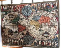 """Antique Italian Old World Map Globe Color Tapestry Art Wall Hanging 44 x 34"""" EUC #Unknown"""