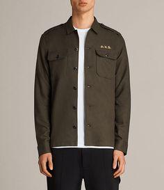 22c0ca439e4 Mens Covina Shirt (Khaki) - Image 1 All Saints, Allsaints Style, Shop