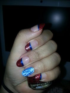 Red glitter & blue stripes #chinaglazeglitterpolish Red Glitter, China Glaze, Blue Stripes, Nail Polish, Nails, Beauty, Finger Nails, Ongles, Nail