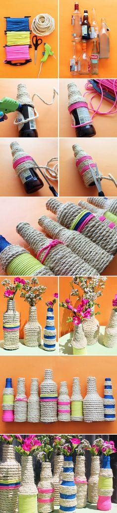 botella-florero-cuerda-reciclaje-diy-muy-ingenioso-1