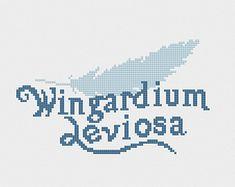 "Harry Potter ""Wingardium Leviosa"" Feather Cross Stitch Pattern PDF Instant Download"