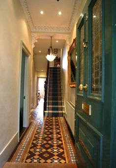 Hall and stairs Edwardian Hallway, Edwardian House, Victorian Terrace Hallway, Victorian Stairs, Victorian Door, Victorian Kitchen, Hall Tiles, Tiled Hallway, Hallway Paint