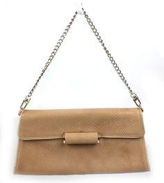 BCBG Beige Snake Embossed Leather Shoulder Bag Handbag Purse  #BCBG #ShoulderBag