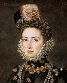 The Infanta Catalina Micaela of Spain and Portugal daughter of Felipe II and Duchess of Savoy through her marriage to Charles Emmanuel I. Catalina Micaela was very close to her older. Mode Renaissance, Renaissance Fashion, Historical Costume, Historical Clothing, Female Portrait, Portrait Art, François Ii, 16th Century Fashion, Elizabethan Era