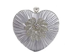 SILVER SATIN HEART CLUTCH BAG WITH DIAMANTE DESIGN, £11.00