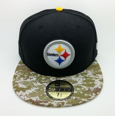 PITTSBURGH STEELERS SALUTE NFL NEW ERA 59 FIFTY FITTED HAT CAP (SIZE 7 1 ad8a114500b3