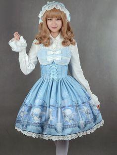 ロリィタジャンパースカート パーティー 可愛い 合成繊維 プリント柄 リボン  - Milanoo.jp