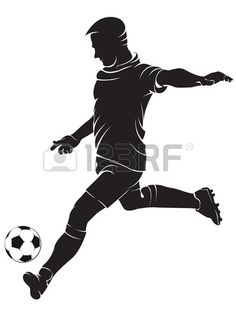 Football (soccer) player with ball, isolated on white. Vector silhouette photo