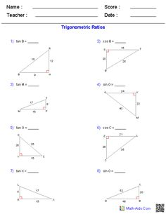 Solving Right Triangles Worksheets | Math-Aids.Com | Pinterest ...