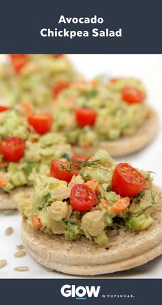 Try this avocado chickpea salad for a protein-packed vegan lunch. At under 500 calories a serving, this meal is filled with nutrients and fiber.