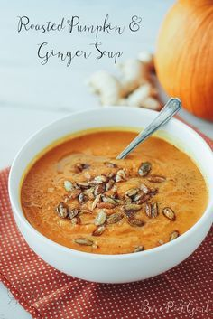 Roasted Pumpkin & Ginger Soup filled with thyme, sage, and cinnamon.  Dairy free, gluten free, grain free, paleo via barerootgirl.com