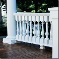 Selecting the perfect railing will create the personality on my wraparound porch! I love the clean and stately look of this railing. I love the white rails against the dark stained wood; elegant beauty that contrasts! Front Porch Railings, Deck Railings, Outdoor Railings, Wood Balusters, Metal Railings, Outdoor Spaces, Outdoor Living, Outdoor Decor, Outdoor Ideas