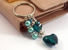 Beaded Keyring Green Beaded Keychain by Michelleshandcrafted, £8.00
