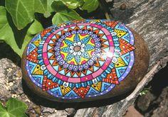 Hand Painted Pierre Mandala amérindien broyage Pierre jardin Art de méditation et d