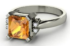Turret Solitaire Princess Ring with a striking citrine center stone