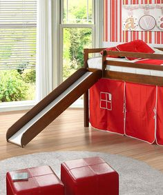 This one-of-a-kind bed is more than just a sleep sanctuary: it's a play set and fort too! A lofted design is surrounded by a colorful curtain that creates a fun hideout, while the bunk bed features a slide escape route. 41'' W x 46'' H x 81'' LTent clearance: 29'' HPine woodRecommended...