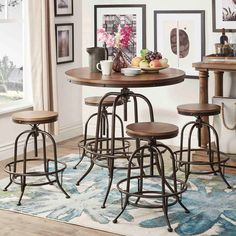 Tribecca Home Berwick Industrial Style Round Counter-height Pub Adjustable Dining Set (1 Table with 2 Stools (Without Backrest)), Brown, Size 3-Piece Sets