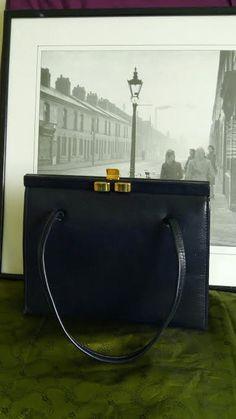 7bf801df05c0 Navy blue Ackery of London vintage handbag by MrsOldSchoolShop on Etsy  Kelly Bag