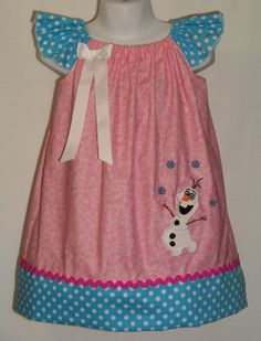 Disney Snowman OLAF Custom Dress / Frozen / by KarriesBoutique, $37.95 Princess Outfits, Girl Outfits, Cute Outfits, Toddler Fashion, Kids Fashion, Little Girl Dresses, Girls Dresses, Pillowcase Dress Pattern, Disney Outfits