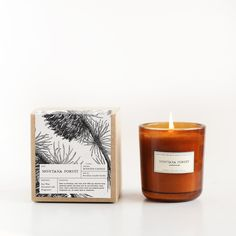 Inspired by the fresh evergreens that grow in the airy mountains of Montana, we created a scent reminiscent of nature in a far-off place. A Brooklyn Candle Studio original blend of blue spruce, pine, Holiday Candles, Diy Candles, Scented Candles, Homemade Candles, Luxury Candles, Candle Packaging, Candle Labels, Soap Packaging, Packaging Ideas