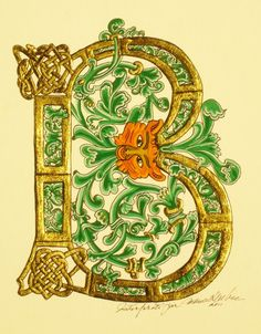 Enluminure: 'B' vert au masque de renard  Gold illumination 10th century........................2011